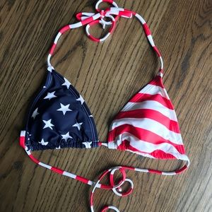 Patriotic American Flag String Bikini Top
